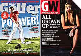male and female golfers